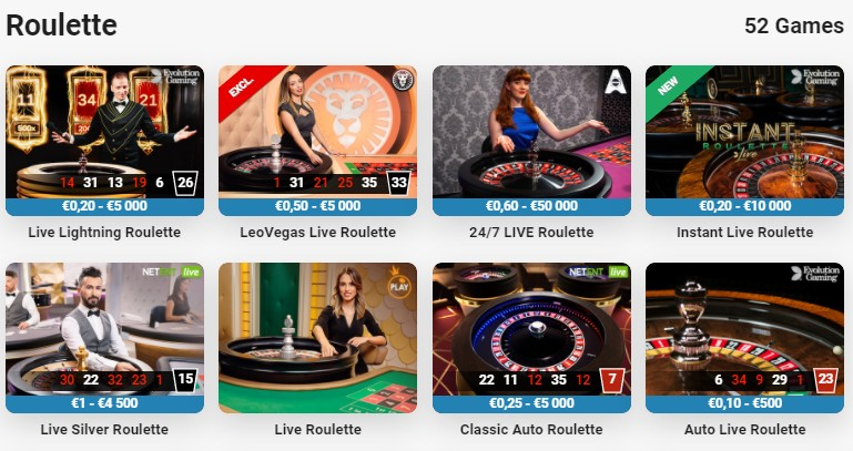 52 Roulette Game Options at Leo Vegas Online Casino