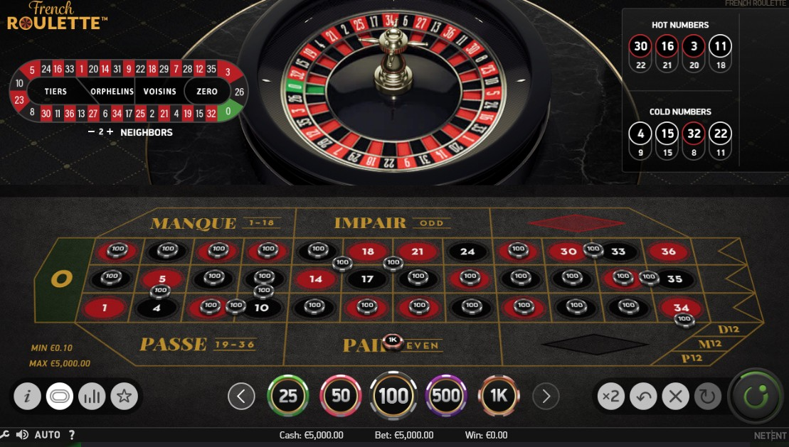 French Roulette - 5000 Maximum Bet for Spin