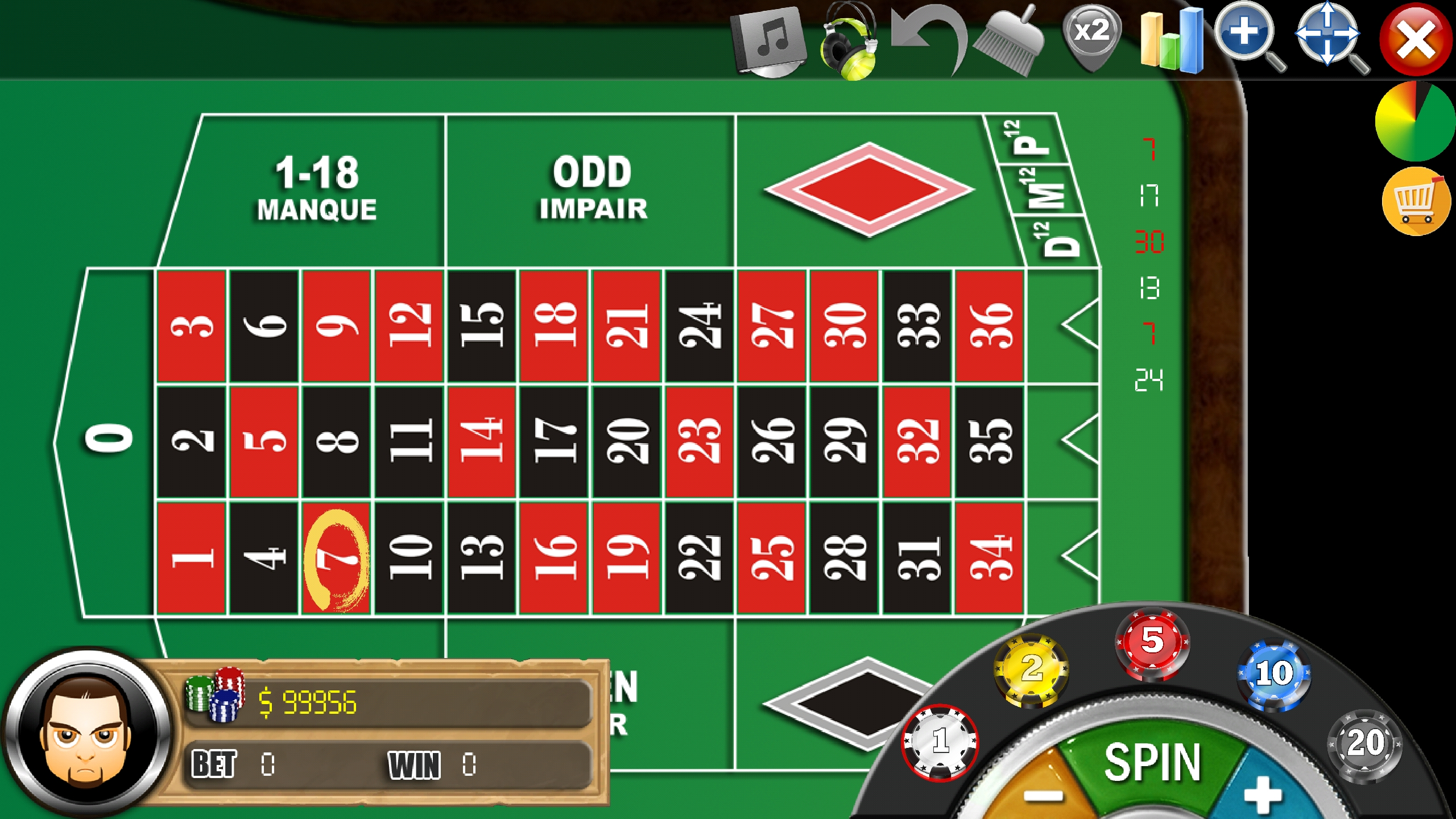 FRENCH Roulette FREE - App - Main Table Beting Screen