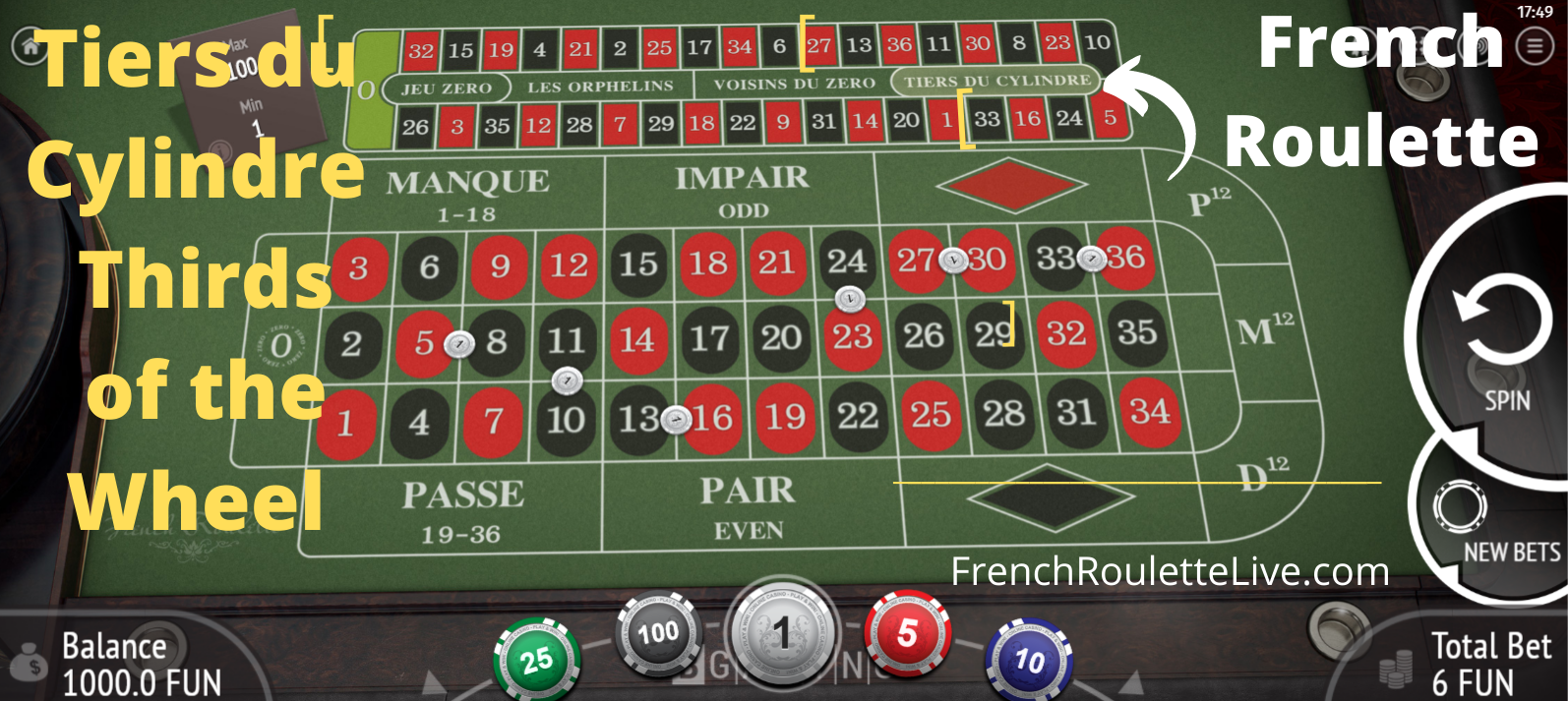 French Roulette Tiers du Cylindre - Thirds of the Wheel Special Bet