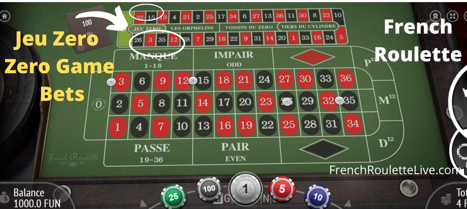 Roulette Table Layouts - Jeu Zero Bets - Racetrack