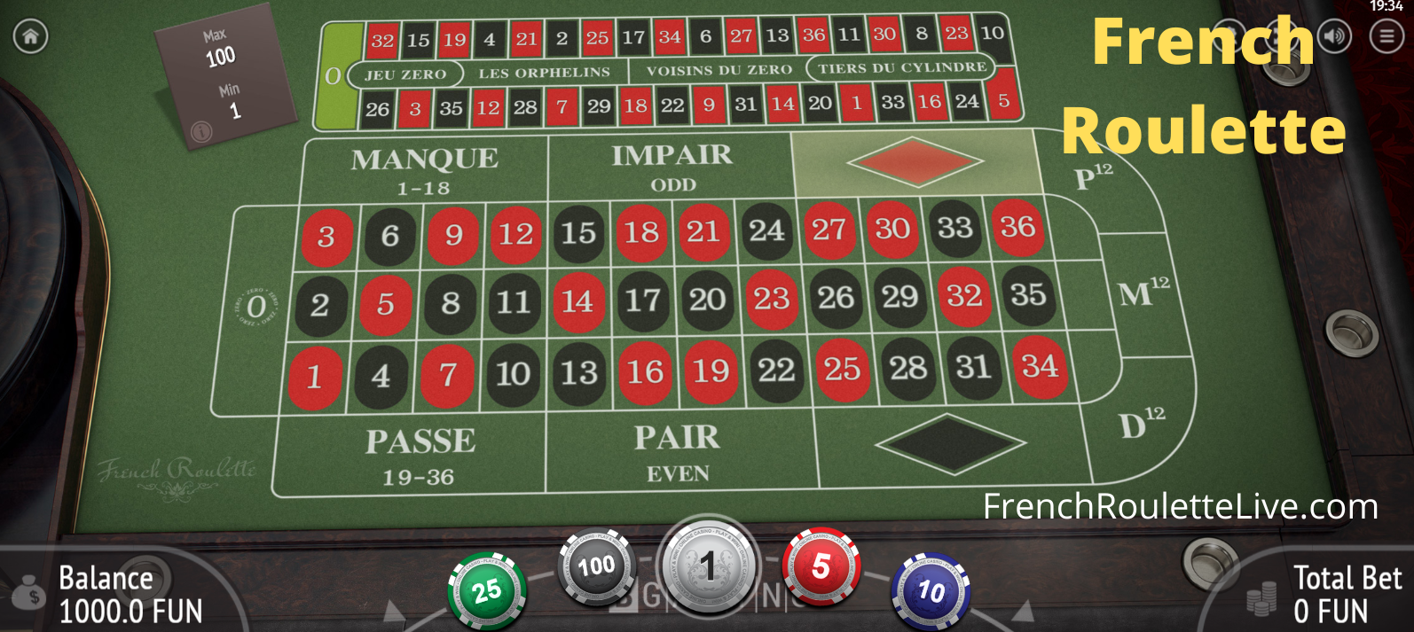 Roulette Table Layouts - Main Table and Racetrack