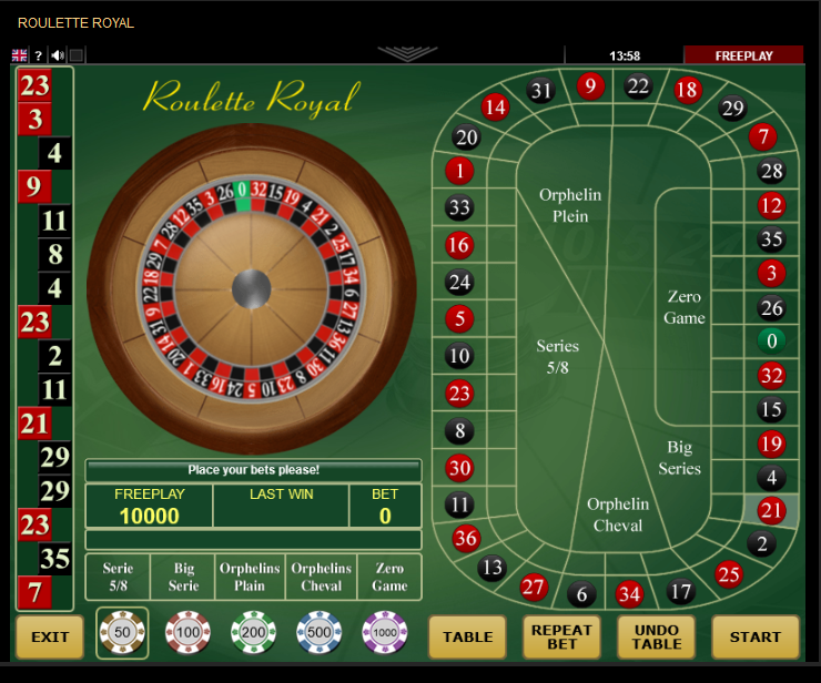 Amanet Amatic Roulette Software Roulette Royal with Special Bets