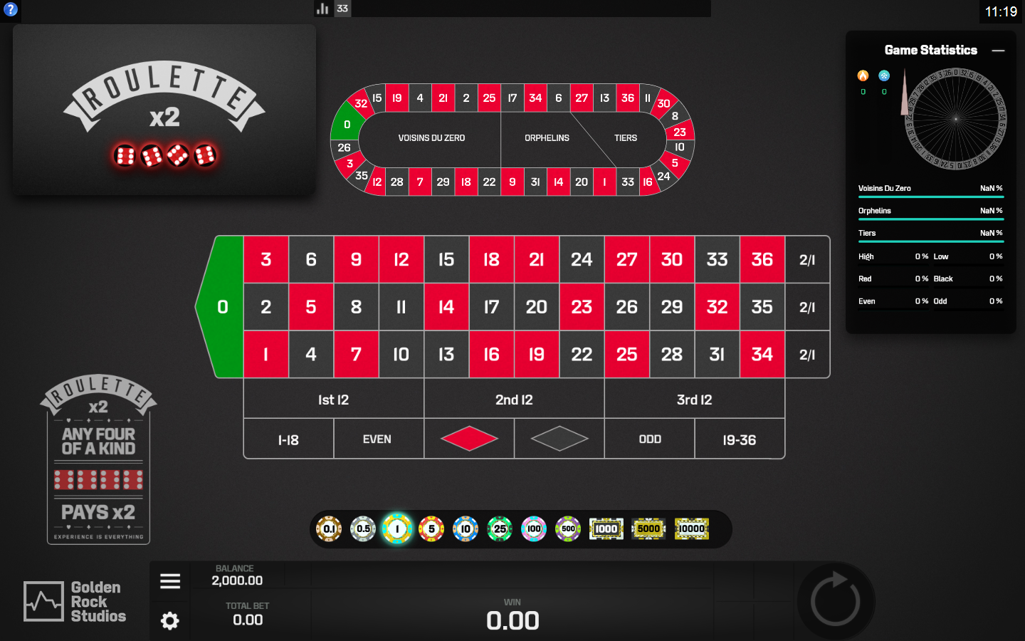 Golden Rock Studios Roulette Software Roulette X2 with Special Bets
