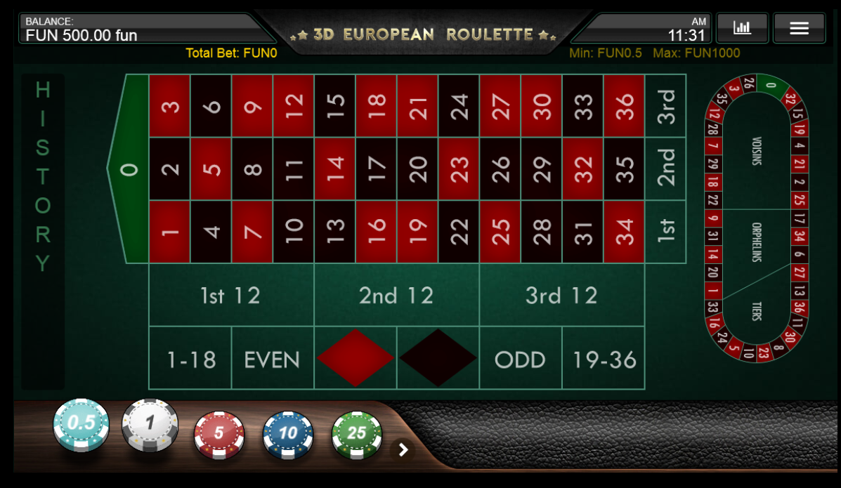 Iron Dog Studio 3D European Roulette with Special Bets