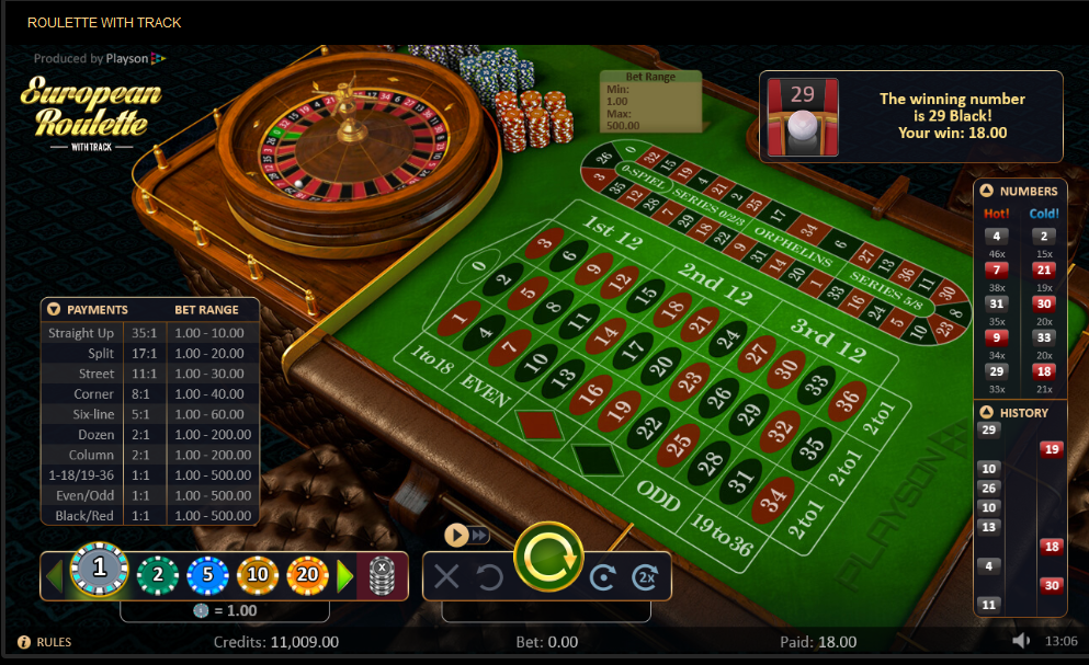 Playson Roulette Software European Roulette with Track