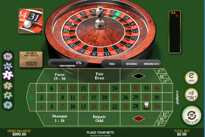 Roulette Simulator - French Roulette Main Table Layout