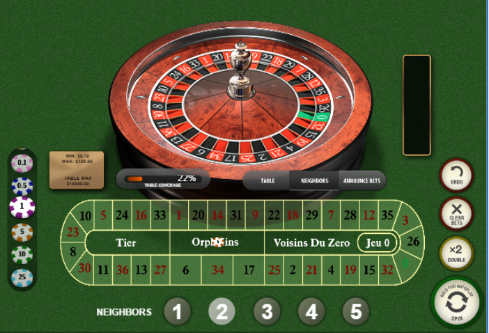 Roulette Simulator - French Roulette Neighbors Bets - Orphelins
