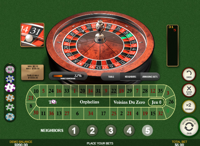 Roulette Simulator - French Roulette Neighbors Bets - Tier