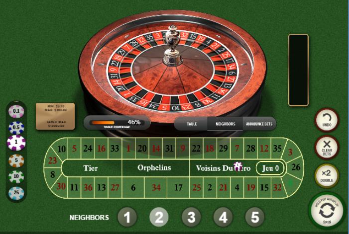 Roulette Simulator - French Roulette Neighbors Bets - Voisins du Zero Neighbors Bet