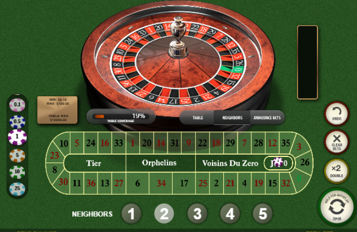 Roulette Simulator - French Roulette Neighbors Bets - jeu 0