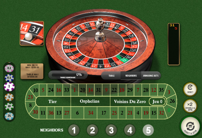 Roulette Simulator - French Roulette Neighbors Bets