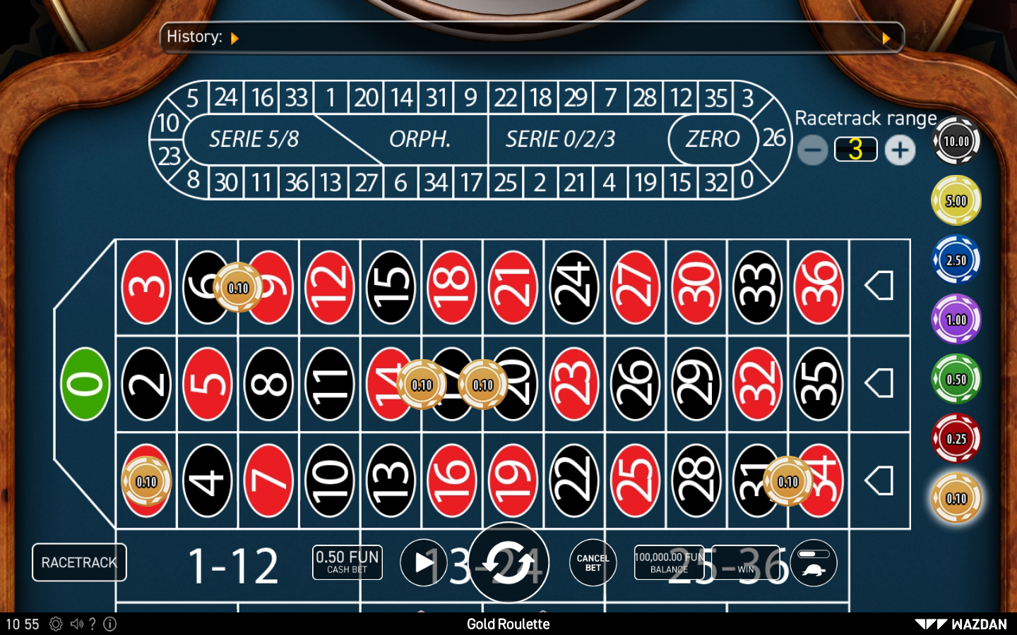 Wazdan Roulette Software Gold Roulette with Special Bets