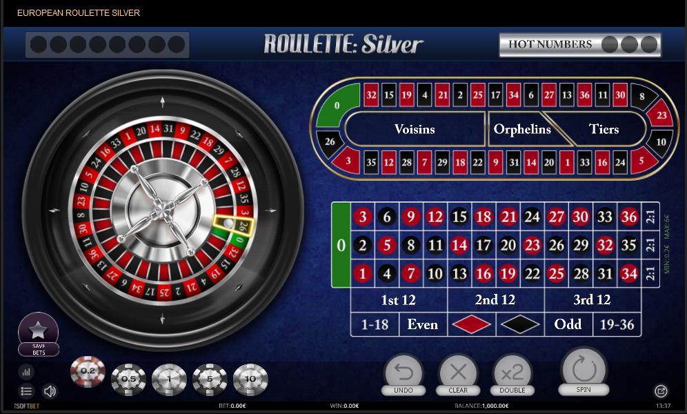 iSoftBet European Roulette Silver with Special Bets